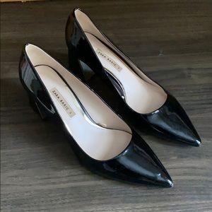 Zara Black Shiny Heels